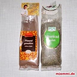 das Bohnenkraut, das Piment,