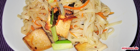 Gebratener Tofu mit Reisnudeln