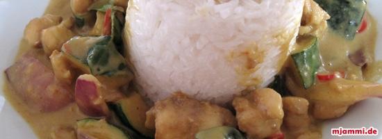 Ταϊλανδέζικο κάρι με κολοκυθάκια και ψάρι
