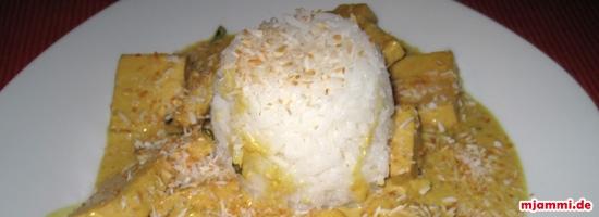 Τόφου σε σάλτσα μοσχολέμονου και γάλας ινδικής καρύδας