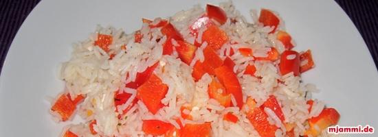 Reis mit Schafskäse und Paprika