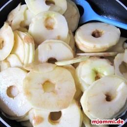 ... ψήνουμε τα μήλα σε μια κατσαρόλα ή ένα τηγάνι (όχι πολύ, για να μην νιανιάσουν - ούτε λίγο για να μην απορροφήσει ο πάτος στο ψήσιμο πολύ νερό).