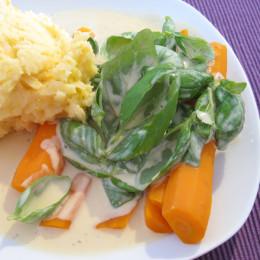 Wir haben noch Kartoffelbrei dazu gemacht und das hat so gut dazugepaßt. Fertig! Guten Appetit!