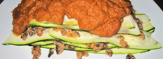 Pilz-Mandel-Lasagne mit Tomatencreme