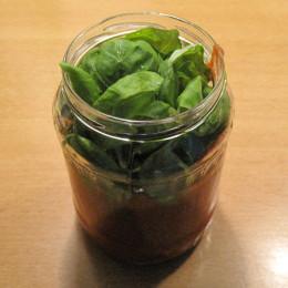 Zuerst aus Dosentomaten, Knoblauchzehe (gepresst), 1 Schuss Balsamicoessig, ein paar Blätter vom Basilikum und Salz eine cremige leckere Tomatensoße herstellen.