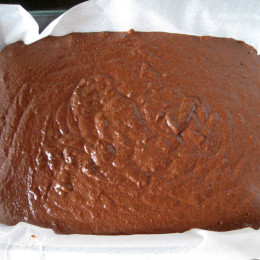 Die fertige Masse in eine mit Backpapier ausgekleidete Kuchenform fließen lassen.