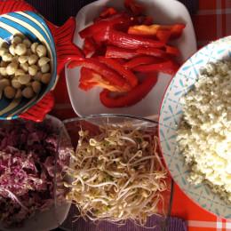 Blumenkohl in kleine Stücke brechen und in der Küchenmaschin mit S-Messer so klein rebeln, dass man es als Reis verwernden kann. Paprika, Zuckererbsen, Mungbohnensprossen und Chicoree waschen und kleinschneiden.
